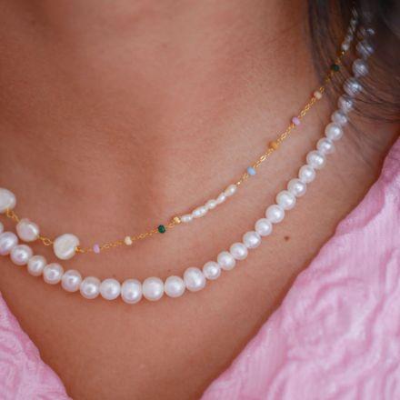 Enamel Necklace Pearlie